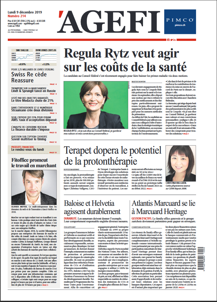 Terapet is featured on the front page of l'agefi today