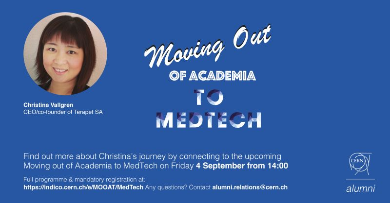 "Christina, our CEO, invited to ""Moving out of Academia to MedTech"" as one of the panelists at this CERN alumni event"
